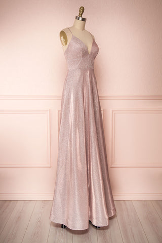 Maarit Blush Glittery Dress | Robe Maxi | Boutique 1861 side view