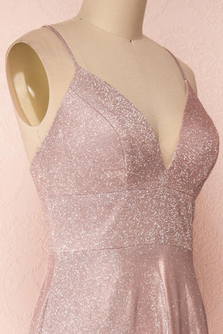 Maarit Blush Glittery Dress | Robe Maxi | Boutique 1861 side close-up