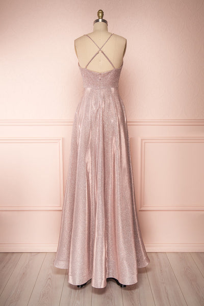 Maarit Blush Glittery Dress | Robe Maxi | Boutique 1861 back view