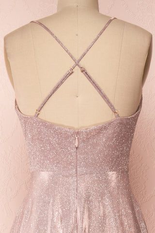 Maarit Blush Glittery Dress | Robe Maxi | Boutique 1861 back close-up