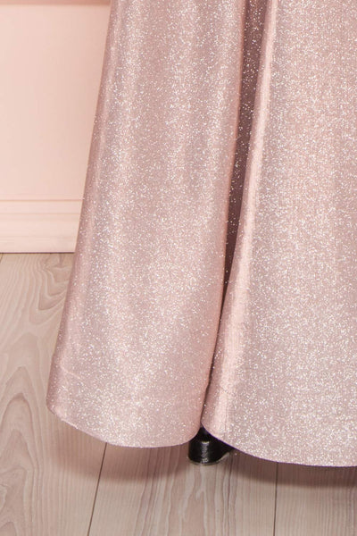Maarit Blush Glittery Dress | Robe Maxi | Boutique 1861 bottom close-up