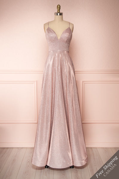 Maarit Blush Glittery Dress | Robe Maxi | Boutique 1861 front view