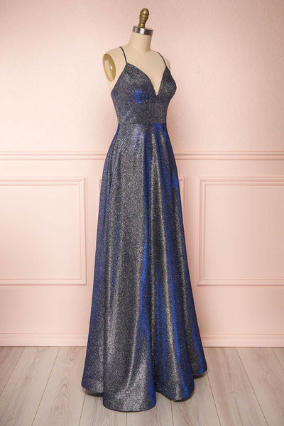 Maarit Navy Glittery Cross Back Maxi Dress | Boutique 1861 side view