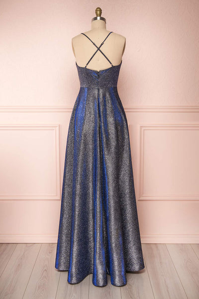 Maarit Navy Glittery Cross Back Maxi Dress | Boutique 1861 view  back view