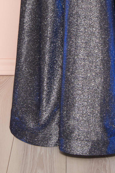Maarit Navy Glittery Cross Back Maxi Dress | Boutique 1861 bottom close-up