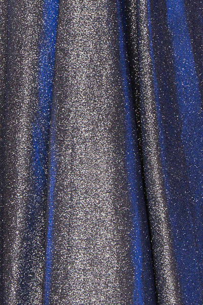 Maarit Navy Glittery Cross Back Maxi Dress | Boutique 1861 fabric