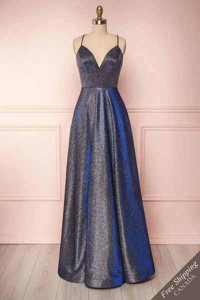 Maarit Navy Glittery Cross Back Maxi Dress | Boutique 1861 front view