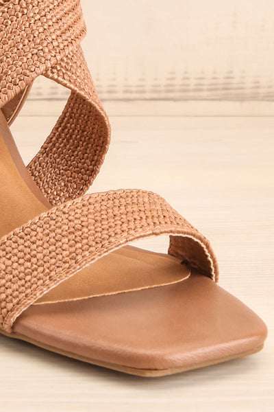 Maastricht Brown High Heel Sandals | La petite garçonne front close-up