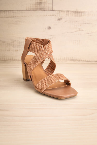 Maastricht Brown High Heel Sandals | La petite garçonne front view