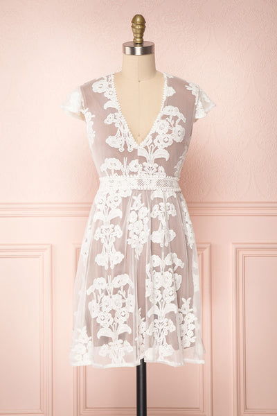 Madero White Floral Embroidered A-Line Cocktail Dress | Boutique 1861