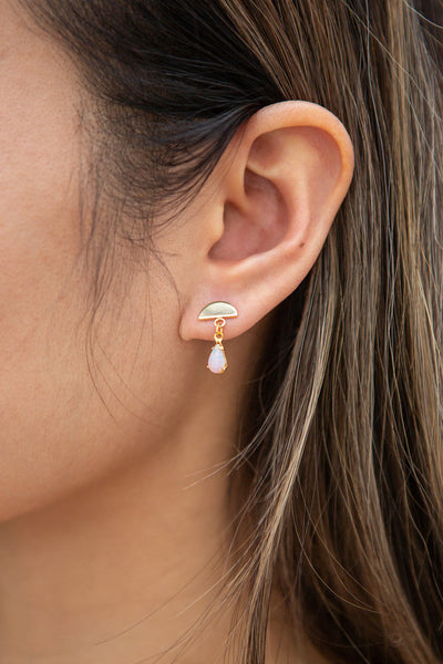 Mae Carol Jemison Golden Stud Earrings | Boutique 1861 on model