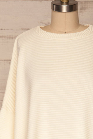 Magan Cream Knit Sweater | Tricot front close up | La Petite Garçonne