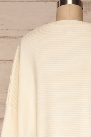 Magan Cream Knit Sweater | Tricot back close up | La Petite Garçonne