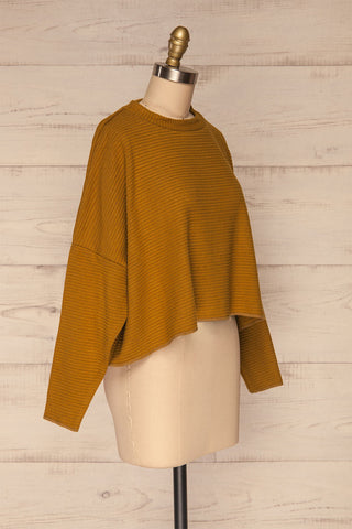 Magan Mustard Knit Sweater | Tricot side view | La Petite Garçonne