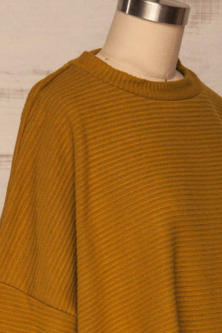 Magan Mustard Knit Sweater | Tricot side close up | La Petite Garçonne