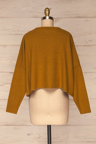 Magan Mustard Knit Sweater | Tricot back view | La Petite Garçonne
