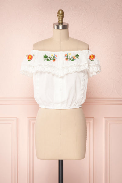 Maile Cloud White Embroidered Off-Shoulder Crop Top | Boutique 1861 1