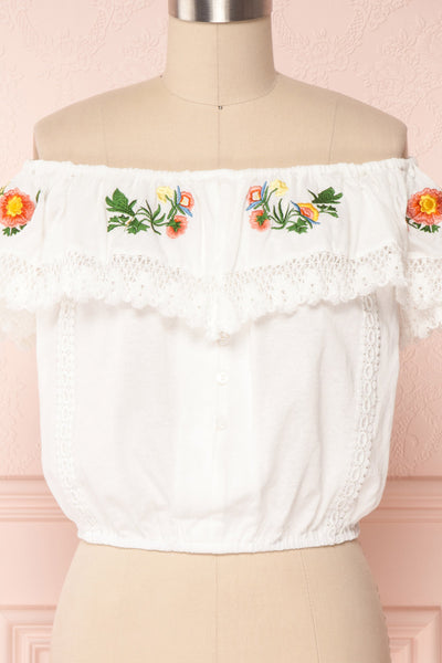 Maile Cloud White Embroidered Off-Shoulder Crop Top | Boutique 1861 2