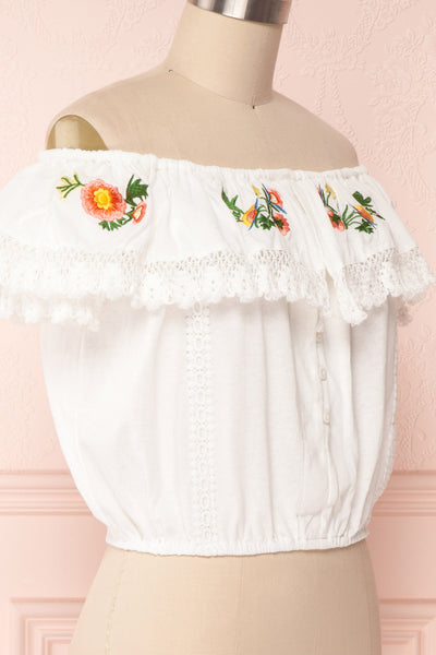 Maile Cloud White Embroidered Off-Shoulder Crop Top | Boutique 1861 4
