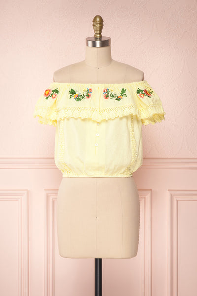 Maile Sun Yellow Embroidered Off-Shoulder Crop Top | Boutique 1861 1