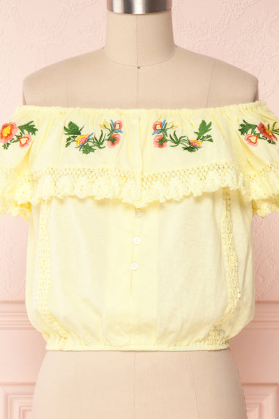 Maile Sun Yellow Embroidered Off-Shoulder Crop Top | Boutique 1861 2