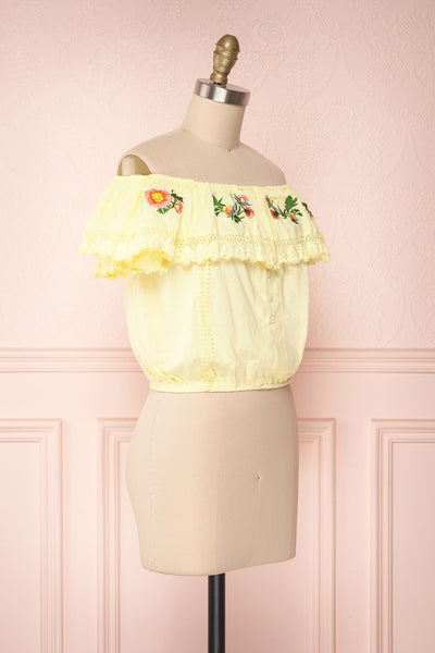 Maile Sun Yellow Embroidered Off-Shoulder Crop Top | Boutique 1861 3