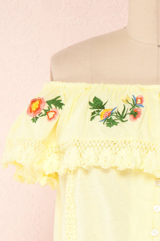 Maile Sun Yellow Embroidered Off-Shoulder Crop Top | Boutique 1861 7