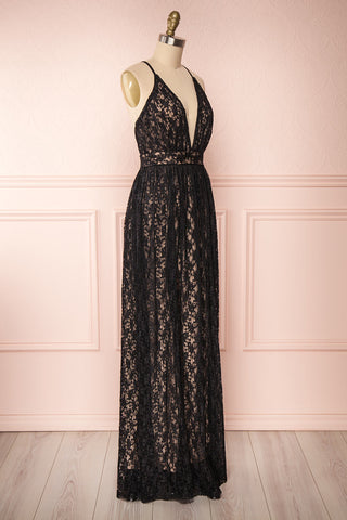 Mairead Black Maxi Dress | Robe longue | Boutique 1861 side view