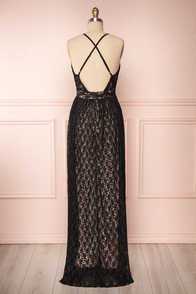 Mairead Black Maxi Dress | Robe longue | Boutique 1861 back view