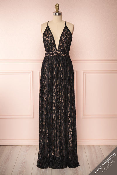Mairead Black Maxi Dress | Robe longue | Boutique 1861 front view