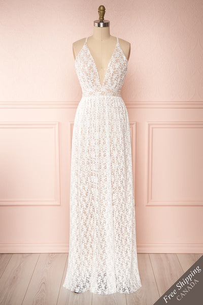 Mairead White Maxi Dress | Robe longue | Boutique 1861 front view