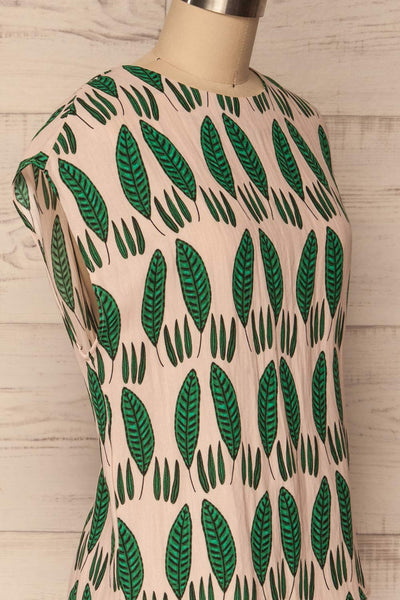 Maliano Oversized Blush Top w Green Leaf Pattern | La Petite Garçonne 4