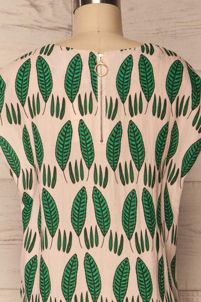 Maliano Oversized Blush Top w Green Leaf Pattern | La Petite Garçonne 6