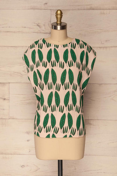 Maliano Oversized Blush Top w Green Leaf Pattern | La Petite Garçonne 1