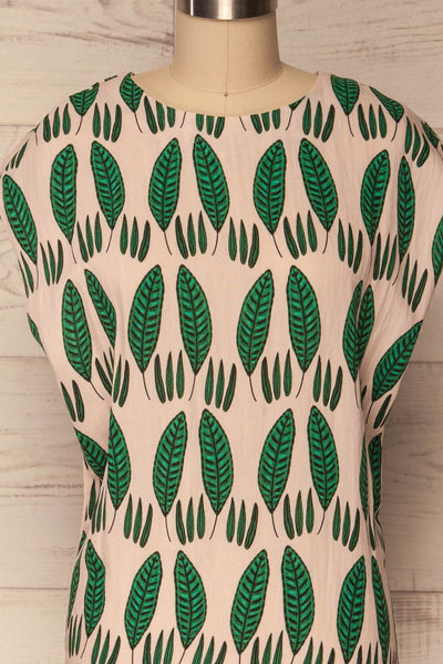 Maliano Oversized Blush Top w Green Leaf Pattern | La Petite Garçonne 2
