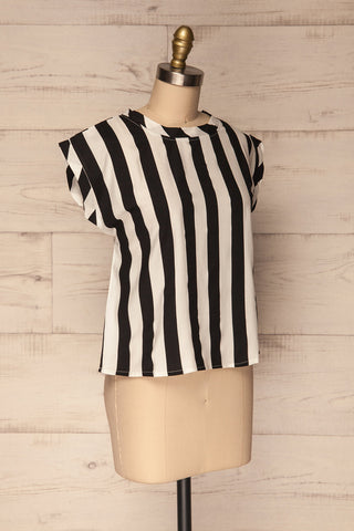 Manyatin Black & White Striped Short Sleeved Top | La Petite Garçonne 3
