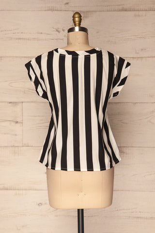 Manyatin Black & White Striped Short Sleeved Top | La Petite Garçonne 5