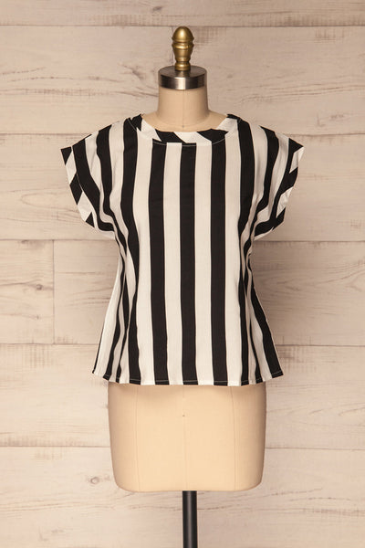Manyatin Black & White Striped Short Sleeved Top | La Petite Garçonne 1