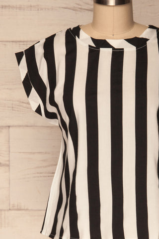 Manyatin Black & White Striped Short Sleeved Top | La Petite Garçonne 2