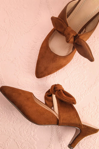 Marengo Cannelle Brown Pointed Toe Medium Heel Mules | Boutique 1861