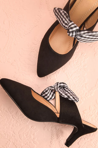 Marengo Poivre Black Pointed Toe Medium Heel Mules | Boutique 1861