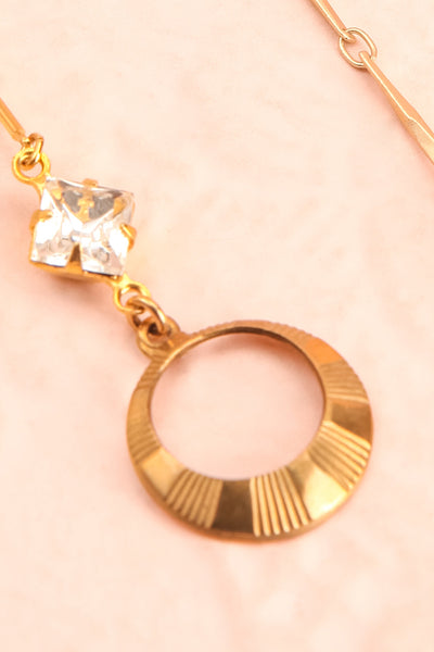Marie Curie Gold & White Pendant Earrings | Boutique 1861 close-up
