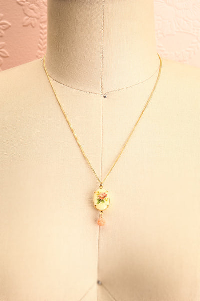 Marie Doro White & Golden Floral Pendant Necklace | Boutique 1861 3