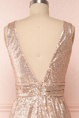 Marie-France Rose Gold Sequined Empire Waist Gown back close up | Boutique 1861