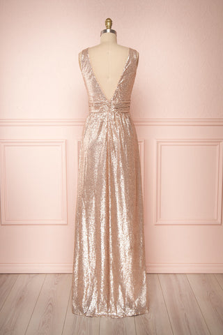 Marie-France Rose Gold Sequined Empire Waist Gown back view | Boutique 1861