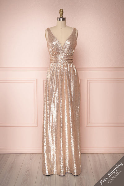 Marie-France Rose Gold Sequined Empire Waist Gown front view | Boutique 1861