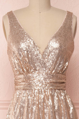 Marie-France Rose Gold Sequined Empire Waist Gown front close up | Boutique 1861