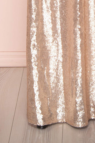 Marie-France Rose Gold Sequined Empire Waist Gown bottom detail | Boutique 1861