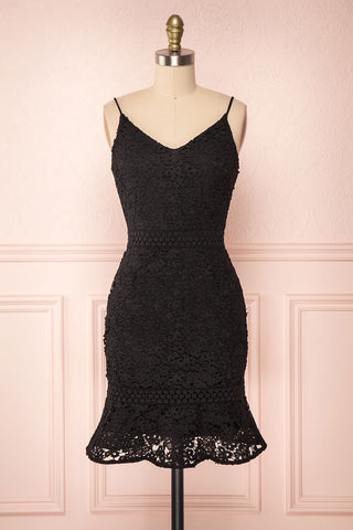 Marisela Black Lace Cocktail Dress | Robe en Dentelle front view | Boutique 1861