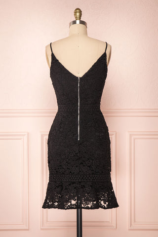 Marisela Black Lace Cocktail Dress | Robe en Dentelle back view | Boutique 1861